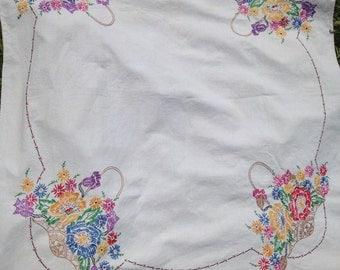 Vintage Hand Embroidered Floral Basket Tablecloth