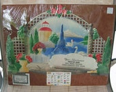Vintage Large Die Cut 1968 German Calendar Fountain Swans Must See