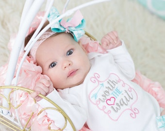 Take home outfit, Worth the Wait newborn set, Girls coming home outfit, newborn gown, girls baby clothes, baby shower gift, newborn photo