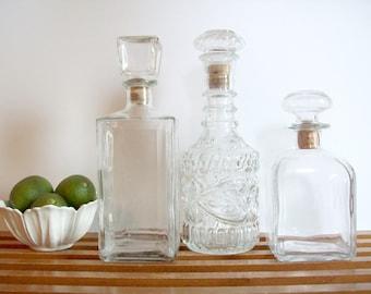 Set of Three Decanters, Vintage Glass Liquor Decanters, Mid-Century Barware, Vintage Liquor Bottles, Bar Cart Decor, Instant Collection