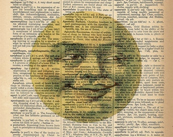 Dictionary Art Print - Man in the Moon - Upcycled Vintage Dictionary Page Poster Print - Size 8x10