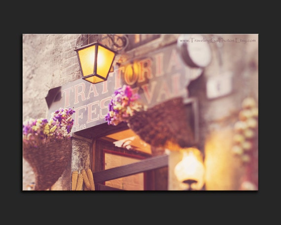 Items similar to LED lit canvas lighted wall decor night light trattoria Italy kitchen photo ...