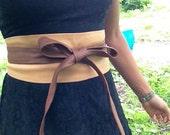 XL Patchwork caramel mocha brown genuine leather obi belt, waist cincher, wrap on belt, japanese style belt