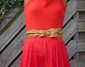 Caramel color genuine leather braided obi belt, waist cincher, wrap belt,