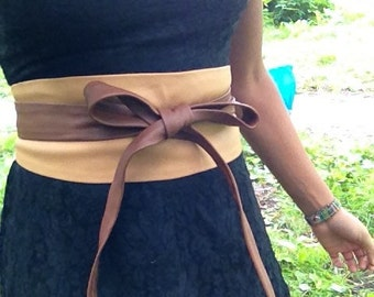 XL Patchwork caramel mocha brown genuine leather obi belt, waist cincher, wrap on belt, japanese style belt