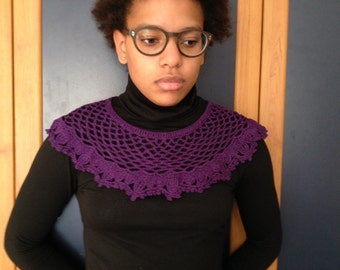 Crochet collar, purple color 100% mercirised cotton yarn.