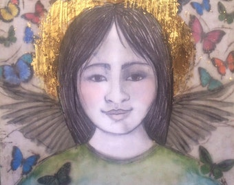 Angel Encaustic Asian Butterfly Canvas