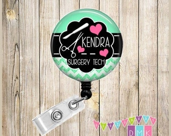 Surgery Tech - Personalized - Surgical Tools - Mint - Chevron - Button Badge Reel - Retractable ID Holder Alligator or Slide Clip Nurse Gift