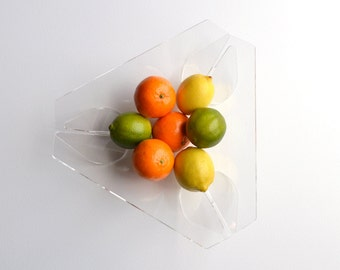 TRIANGLE FRUIT BOWL:  Acrylic minimalist modern fruit bowl, bread basket