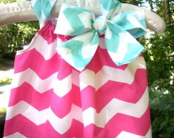 Handmade pink chevron pillowcase dress baby clothes girl dress pink teal chevron girl dress baby gift girl dress