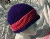Crocheted Hat Beannie hat Toque Cap Purple bubblegum pink Knit cloche CT0010