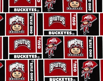NCAA Ohio State Buckeyes 100% Cotton V2 Fabric by the yard