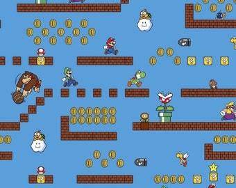 Nintendo Super Mario Game Scenes Cotton Fabric