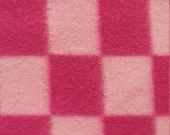 Baby Pink and Fuchsia Checkers Print Fleece Fabric by the yard