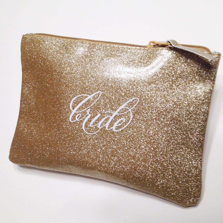 Bride Gold Glitter Cosmetic Bag