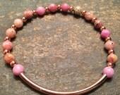 Rose Gold Elegance in Pink Jasper Stackable Stretch Bracelet