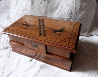 Antique French wooden jewelry trinket box w wood marquetry inlay, mirror, rare 1900s jewelry box w compartments, bird swallow decor design