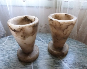 Pair antique French vases Artdeco alabaster vases, art deco garden mantel flower vases France country cottage chic home or garden decoration