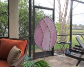 Stained Glass Easter Egg Garden Stake/Garden Marker in Pink and White Swirl Opalescent Glass - Large Egg Garden Stake