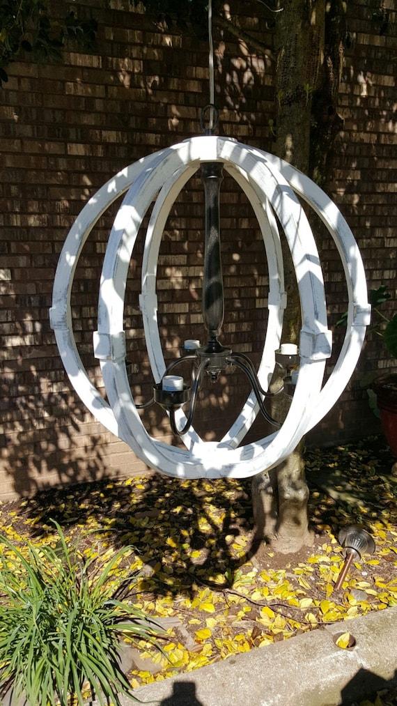 24 Distressed Painted White Wood Orb Chandelier Sphere