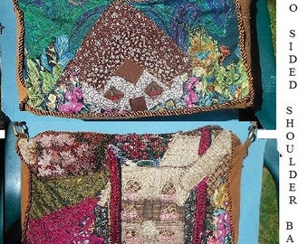 2 OOAK Floral Woodland Homes on Large 2 Sided Shoulder Bag, Handmade Crazy Quilt Patchwork. Sure to get Compliments! Vintage Style Only 229.