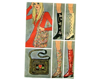 1970s Boho Bags and Spats Pattern Mod Accessories Simplicity 9553 Shoulder Bag Boot Covers Purses Faux Boots Costume Vintage Sewing Pattern