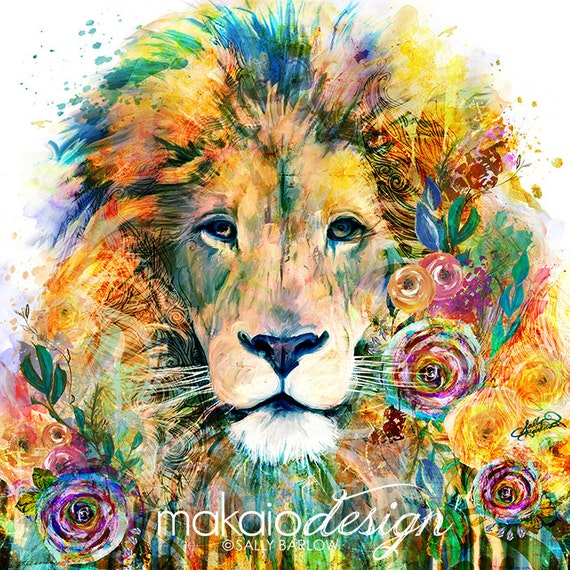Colorful lion painting - photo#54