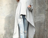 Light Grey High Collar Asymmetric Sweatshirt Cotton Fleece Extra Long Sleeves Top - Custom made - NC622
