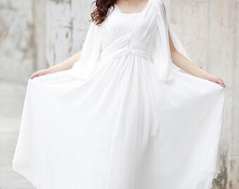 White Maxi Dress , Chiffon Party Dress, Bridesmaid Dress - NC719