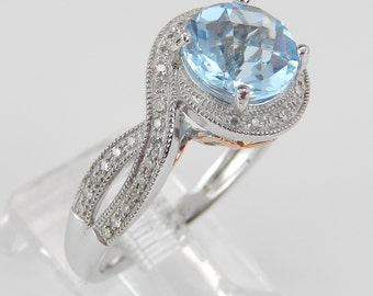 White Gold 1.75 ct Diamond and Blue Topaz Halo Engagement Promise Ring Size 7
