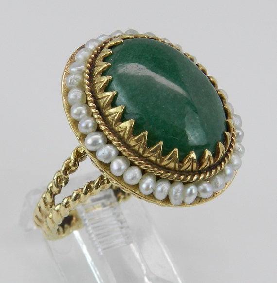 Jade and Seed Pearl Antique Vintage Statement Halo Ring 14K Yellow Gold Size 7.5