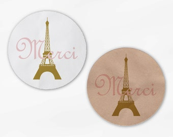 Merci Wedding Favor Stickers - Eiffel Tower Candy Buffet Pink and Gold Round Labels for Bag Seals, Envelopes, Mason Jars (2009)