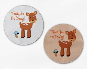 Deer Baby Shower Stickers - Thank You Custom White Or Kraft Round Labels for Bag Seals, Envelopes, Mason Jars (2028)