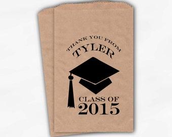2017 Graduation Cap Personalized Candy Buffet Bags - Set of 25 Black High School Grad Party Custom Kraft Favor Bags in School Colors (0060)