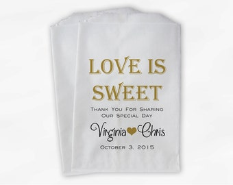 Love Is Sweet Wedding Candy Buffet Treat Bags - Personalized Favor Bags in Gold and Black - Custom Paper Bags (0069)