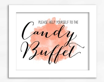 Candy Buffet Print in Light Peach - Watercolor Calligraphy Wedding Reception Sign for Favors or Dessert Table (4001)