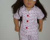 Breast Cancer Awareness pajamas and sleep mask for 18 inch doll