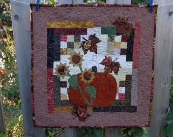Fall Quilt,  Pumpkin Wall Quilt, Sunflower Quilt 1003-04
