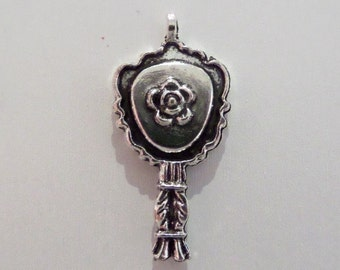 10CT. 24mm*16mm Antique Silver Mirror Charms, (Y31)