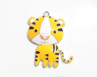 46mm*40mm Yellow/orange Tiger Enamel Pendant, P43
