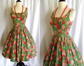 Vintage 1950s Rockabilly Dress Plattry Cotton Garden Party Sundress w/ Full Skirt Size Small