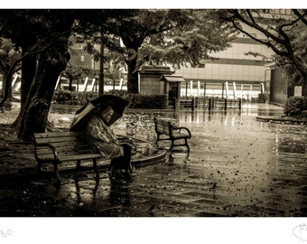 Resting in the rain fine art photography print BW sepia street photography  tokyo japan black and white photo c type print umbrella