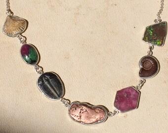 Fossil Mineral Bezel Set Necklace