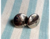 Handmade Vintage Button Earrings. Antique Silver Plated. 15mm Diameter.