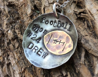 Custom Football Necklace, Football mom necklace, football mothers necklace, personalized necklace, player name number, sports mom necklace