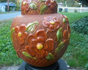 huge clean vintage 1970s retro mid century SPHERE ORB ROUND heavily embossed pottery floral  table lamp