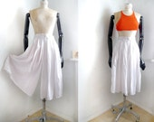 Vintage 80s culottes Cropped Palazzo Shorts wide Skirt-Pants White Size S_M