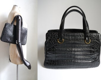 Vintage Bag/ Handbag Black Faux Crock Lizard patent leather/ 50s 60s retro shoulderbag mad Men Womens accessoiries Evening/ Top handle bag