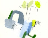 """Abstract painting """"Small Talks 20"""" - acrylic on paper in grey and yellow, mid century art"""