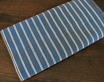 Vintage unused Japanese indigo stripe cotton fabric
